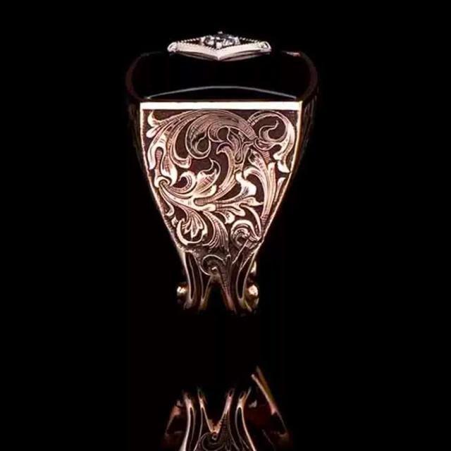 【特A品】ピンクゴールド 彫刻 ダイアモンド リング 21号 新品