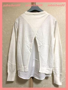 ☆GU☆超美品♪レイヤード風涼感レーヨンゆるニットシャツS☆