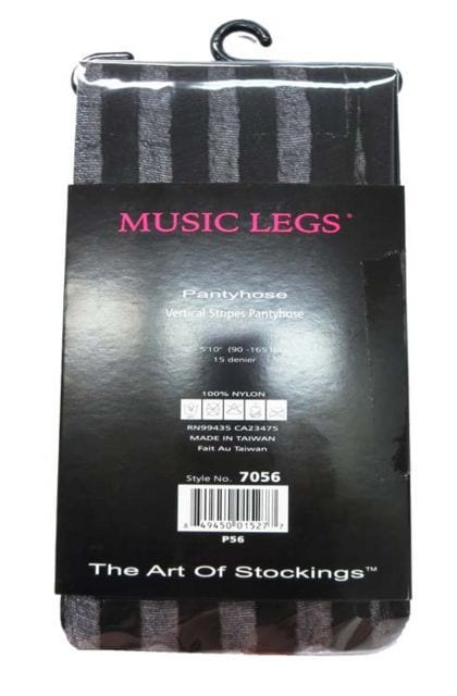 29A)MusicLegsシアーストライプストッキング黒タイツ結婚式ダンサーダンス発表会ブラック < 女性ファッションの