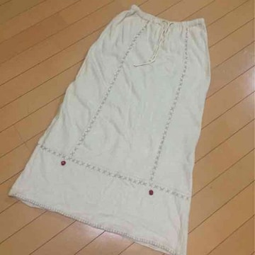 ナチュラルな綿麻スウェット◆ロングスカート◆M(64〜70)