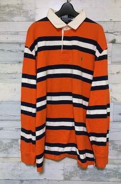 セールPoloRalphLaurenポロラルフローレン★ラガーシャツ★XLロングポロシャツオレンジ