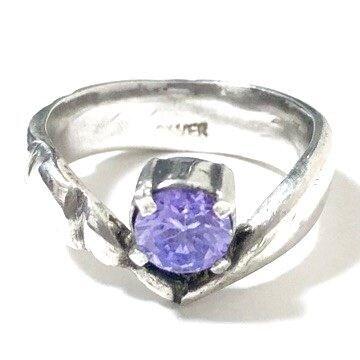 silver925 一粒アメジスト V字リング 紫石
