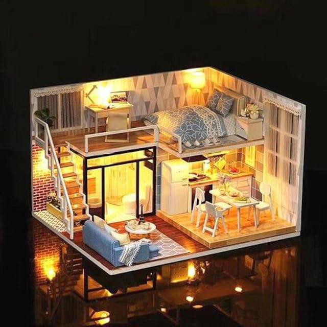 ドールハウス ミニチュア LEDとオルゴール付属 手作り < おもちゃの