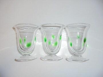 カップグラスコップタンブラー気泡ステムポルカドット緑クリアX3