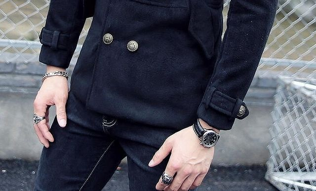 送料無料お兄系ホストメンナク/Pコート/細身チョイ悪オラオラ系服101黒-M < 男性ファッションの