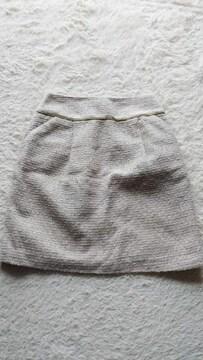 ロペピクニックツイードスカート白アイボリーベージュゴールド
