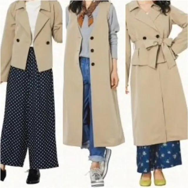 新品☆LLトレンチコートになるショートコート+ジレ薄手☆nn586 < 女性ファッションの