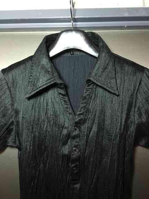 5351プールオム/艶々素材シワ加工ポロシャツ/ブラック2 < ブランドの