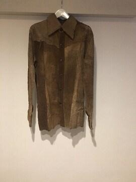 14thaddiction パンチングレザーシャツ