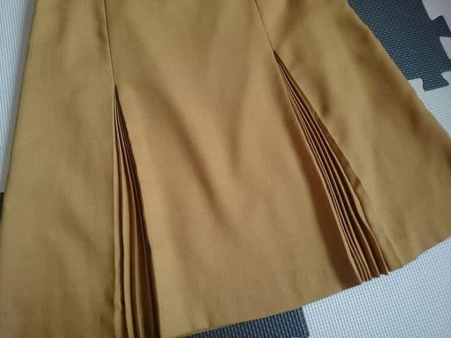 LINK IT ALL リンクイットオール☆タック入りスカート★マスタード☆日本製★ < ブランドの