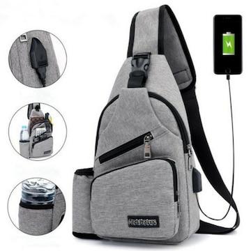 グレー/新品☆USBポート付ボディバッグ,斜めがけバッグ