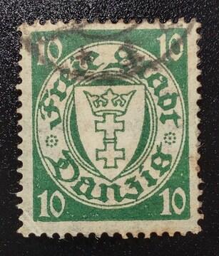 1924年ドイツ ダンッイヒ紋章図案切手10pf 使用済み