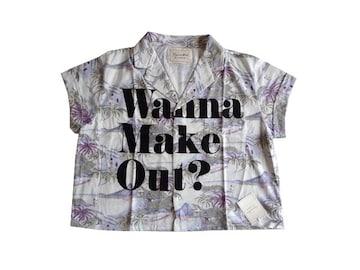 新品 定価6930円 ラグナムーン 総柄 ロゴ 半袖 シャツ ブラウス