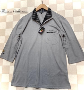 Franco Collezioni 二重変化衿七分袖ドレスポロシャツ/グレー