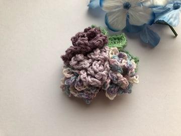 ハンドメイド  ブローチ コサージュ  パープルの紫陽花♪