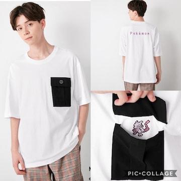 gu ジーユー コットンビッグt  ポケモン 5 半袖 tシャツ トップス メンズ 白ホワイト