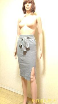 美品☆微光沢ニットの紐リボン付きスカートB312☆3点で即楽