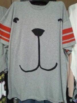 グレー犬ドッグビッグTシャツ半袖ボーダー赤ラインイギリスS〜M
