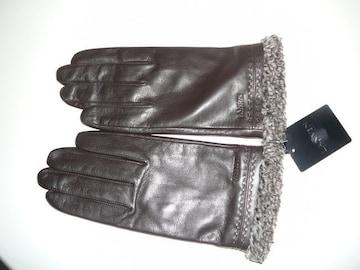 ランバン羊皮革手袋ブラウン部分ボア