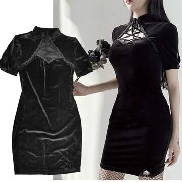 新品[8016]黒ベロア胸元編み上げ半袖ワンピース/ゴシック/ゴスロリ