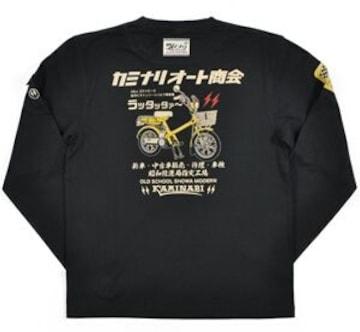 新作/カミナリ雷/ラッタッタ/ロンT/黒/L/KMLT-74/エフ商会/テッドマン