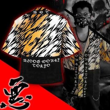 送料無料/ヤンキーチンピラオラオラ系和柄ベースボールシャツ/B系HIPHOP服15007-L