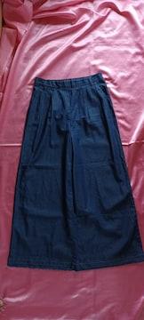 ★紺色ネイビーブルー裾カットオフ薄手ロングワイドデニムパンツ