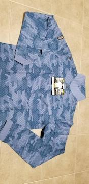 送料込★寅壱スリムフィット【5972-614.紺】迷彩柄長袖ポロシャツ.3L