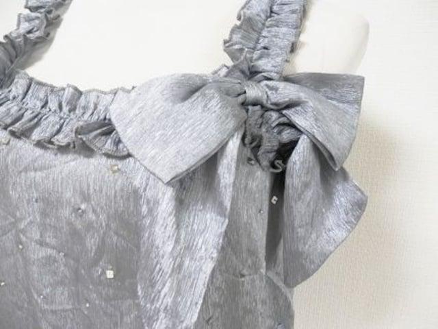 インポートClosetシルクシルバーグレーリボンスパンタンク < 女性ファッションの