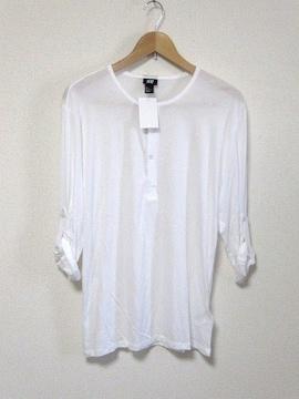 □H&M/エイチアンドエム ヘンリー長袖/七分袖 Tシャツ/メンズ・L/ホワイト☆新品