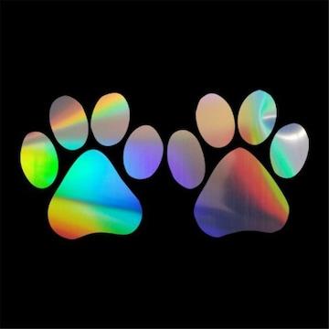 虹レインボー肉球ステッカー足跡 シール猫ネコ ワンコ犬
