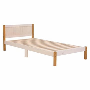 ベッド(ホワイトウォッシュ/ライトブラウン) MB-5102S-WLB