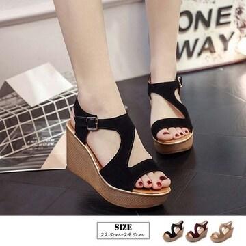 厚底 ウエッジソールサンダル レディース 美脚 歩きやすい 靴 シンプルデザイン