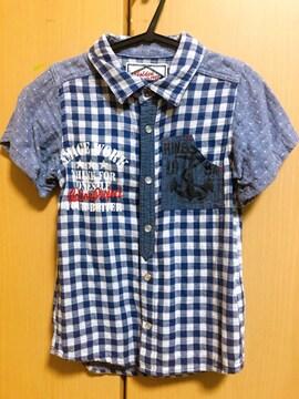 送料込/半袖チェックシャツ/130