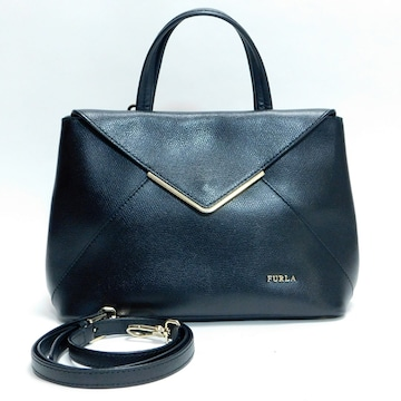 美品FURLAフルラ ハンドバッグ ストラップ付  黒 良品 正規品