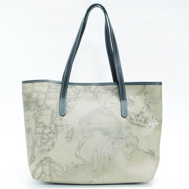 美品プリマクラッセ トートバッグ 世界地図グレージュ系  正規品 < ブランドの