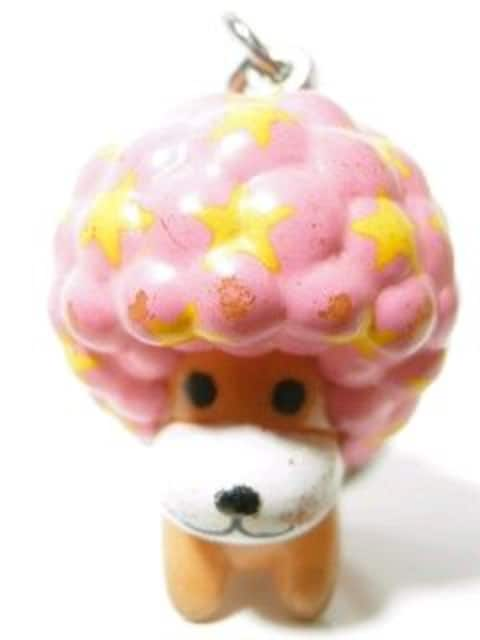 『もこもこアフロ犬』マスコットキーホルダーピンク < アニメ/コミック/キャラクターの