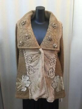 ファー装飾花柄刺繍ジャケット