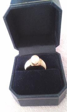 K18 パール 白蝶貝 ダイヤモンドリング 中古品