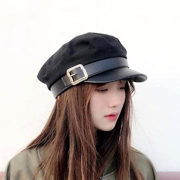 新品[7737]黒バックル飾り★キャスケット帽子/軍事/学生帽