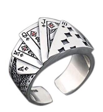 ポーカーリング スクエアフラッシュ トランプ メンズ 指輪