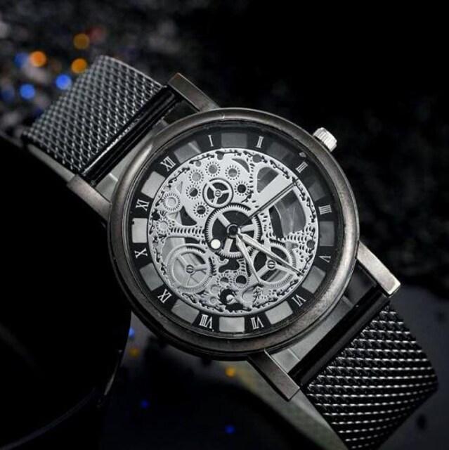 特A品 新品1円〜★送料無料★豪華 透かし彫り ブラック腕時計ウォッチ
