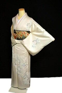 【最高級】新品同様 シシュウ 薔薇 重ね衿付き 付下げ T2173