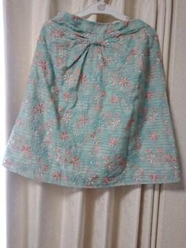 TOCCA水色花柄刺繍スカート0トッカ