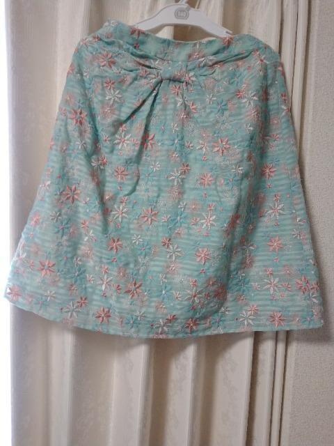 TOCCA水色花柄刺繍スカート0トッカ  < ブランドの