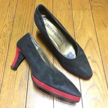 ヴィンテージ イブサンローラン スエードパンプス 黒/赤 36 23cm