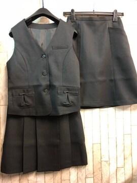 新品☆9号お仕事ベストスーツ2種スカート付♪黒オフィス☆n297
