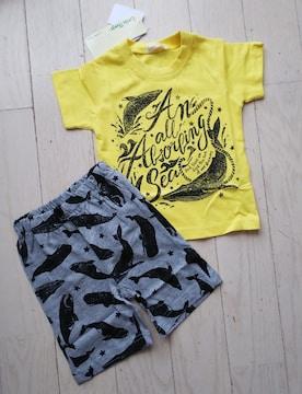 90★Littie things★丸高衣料★クジラ柄セットアップ★Tシャツ+ハーフパンツ