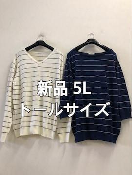 新品☆5Lトールサイズ薄手 綿ニット2枚セット☆d336
