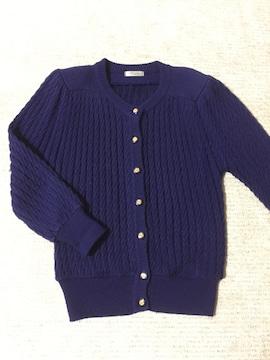 611.リブカーディガン☆藍色☆サイズL